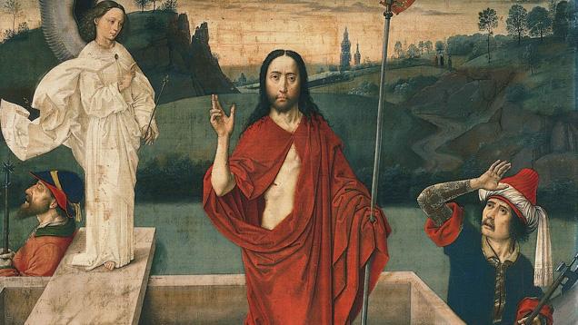 """Ausschnitt aus dem Gemälde """"Auferstehung"""" von Dieric Bouts (um 1455)"""