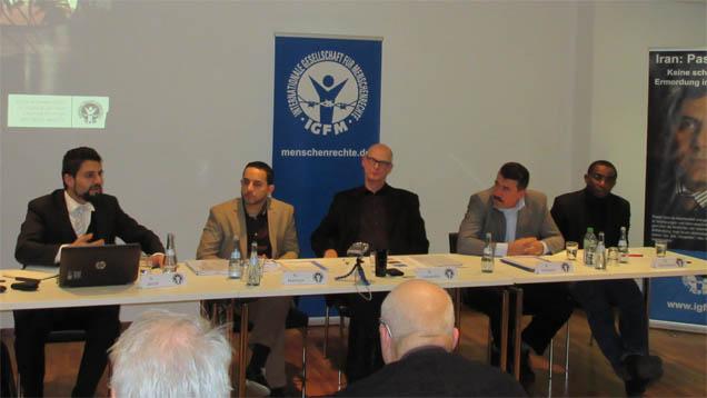 Auf der Konferenz der Internationalen Gesellschaft für Menschenrechte (IGFM), von links nach rechts: Jacob, Manor, Lessenthin, Al-Rasho, Ogbunwezeh