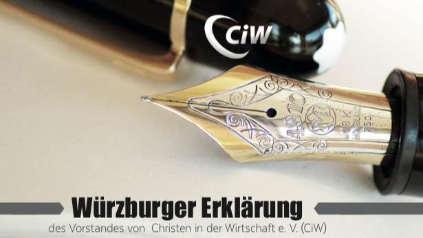 """Der Verein """"Christen in der Wirtschaft"""" legt in einer """"Würzburger Erklärung"""" eine neue Zielsetzung fest. Vorausgegangen waren nach eigener Aussage """"Verletzungen, Unversöhntheit, Hartherzigkeit und Gleichgültigkeit"""" im Verband"""