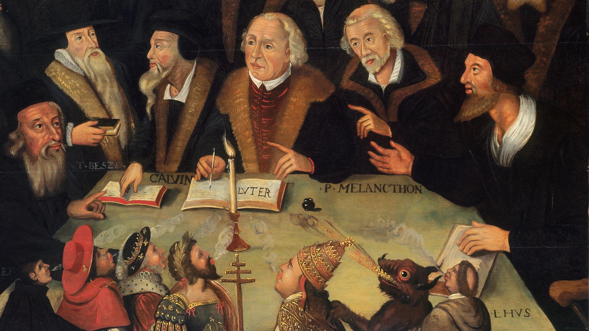 Kunst aus dem 17. Jahrhundert: Luther im Kreise von Reformatoren