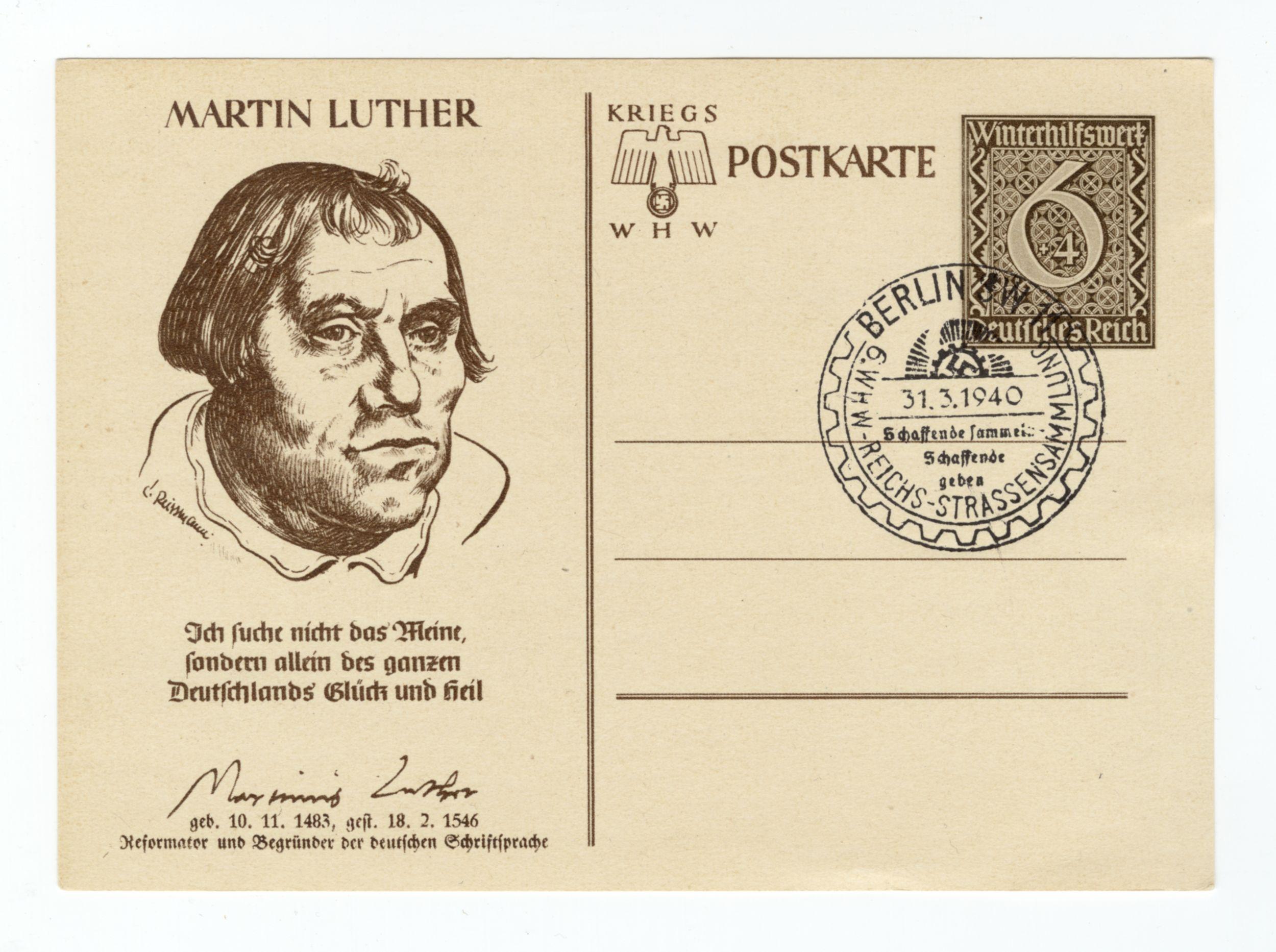 Kriegspostkarte mit Luther-Zitat und einem Luther-Portrait von C. Reissmann, Poststempel vom 31. März 1940