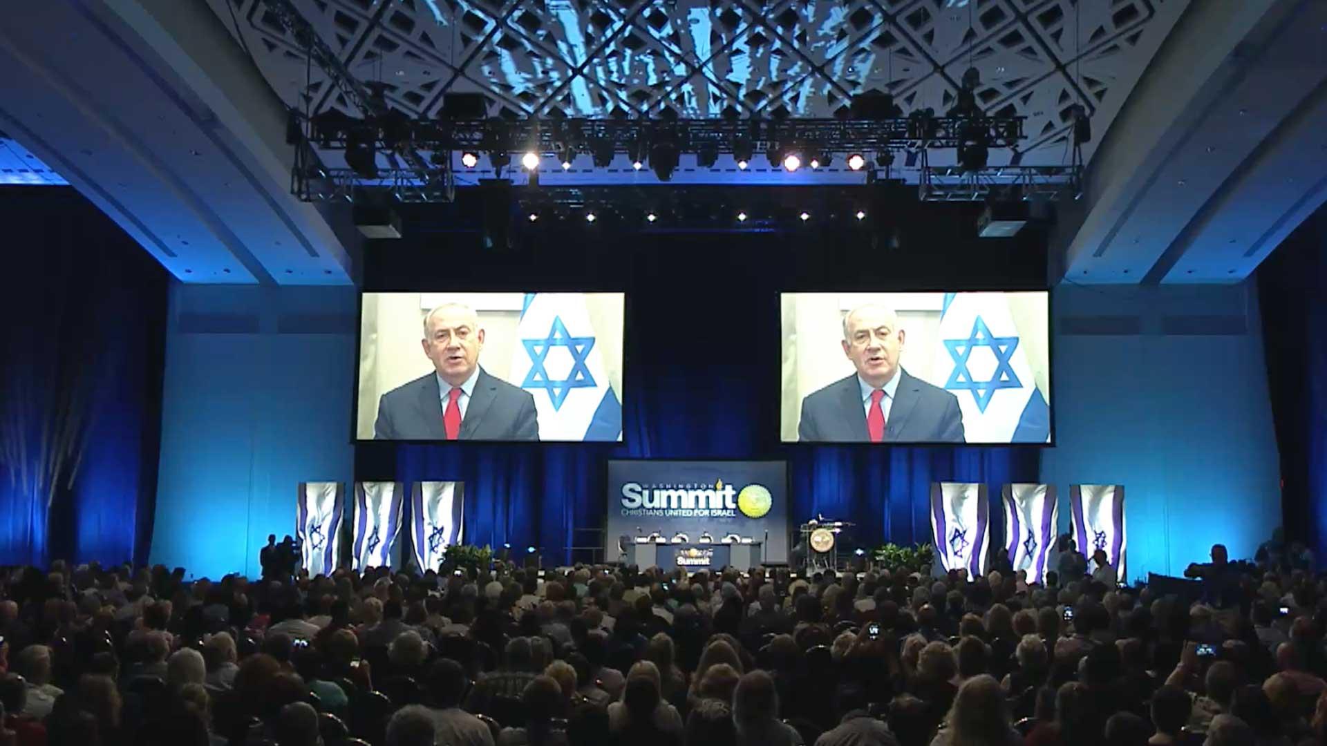 Weltweit verbunden: Der israelische Premier Netanjahu dankte Christen in Washington von Budapest aus für deren Unterstützung