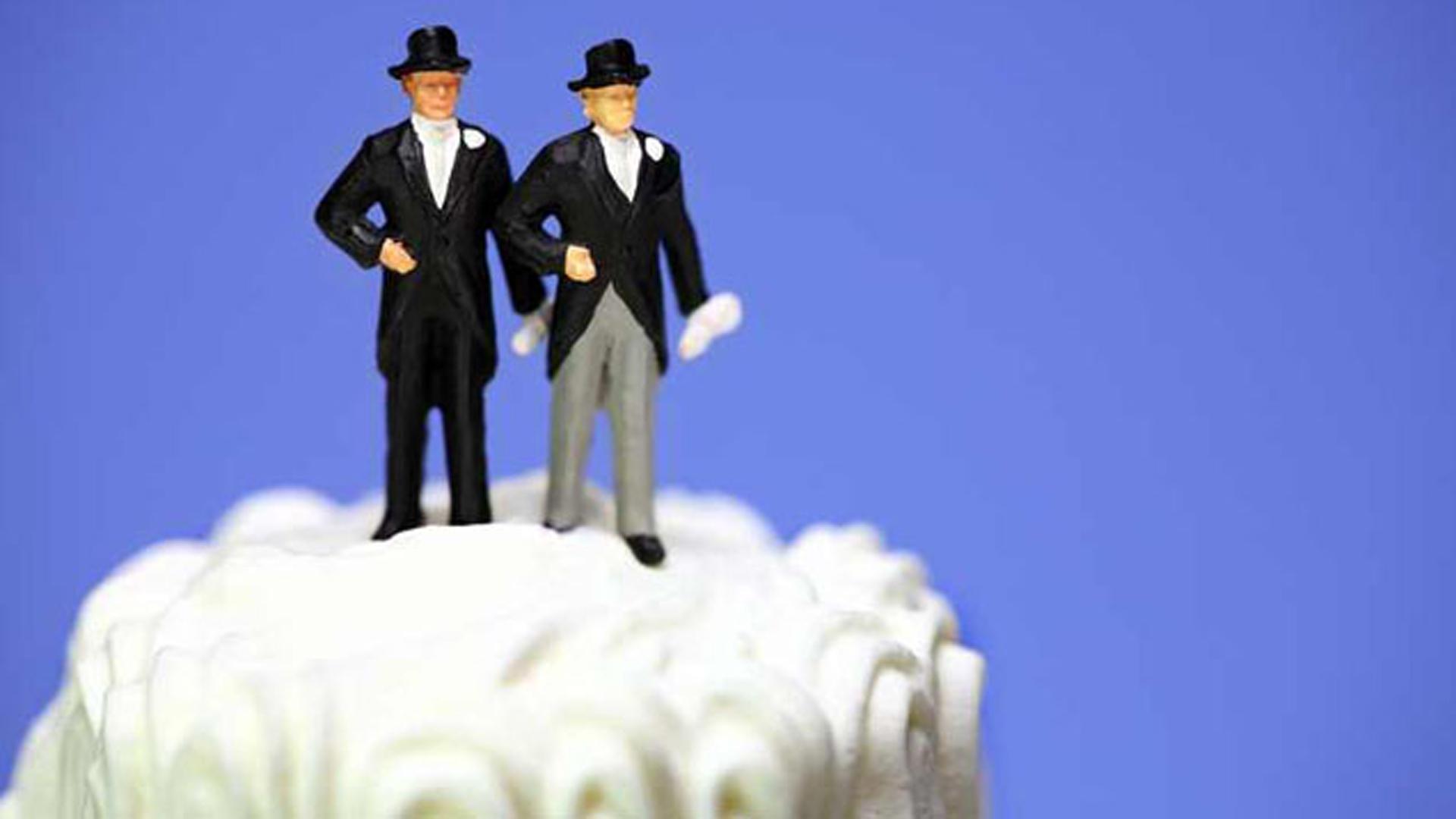 homosexuelles Paar, schwul, Hochzeitstorte