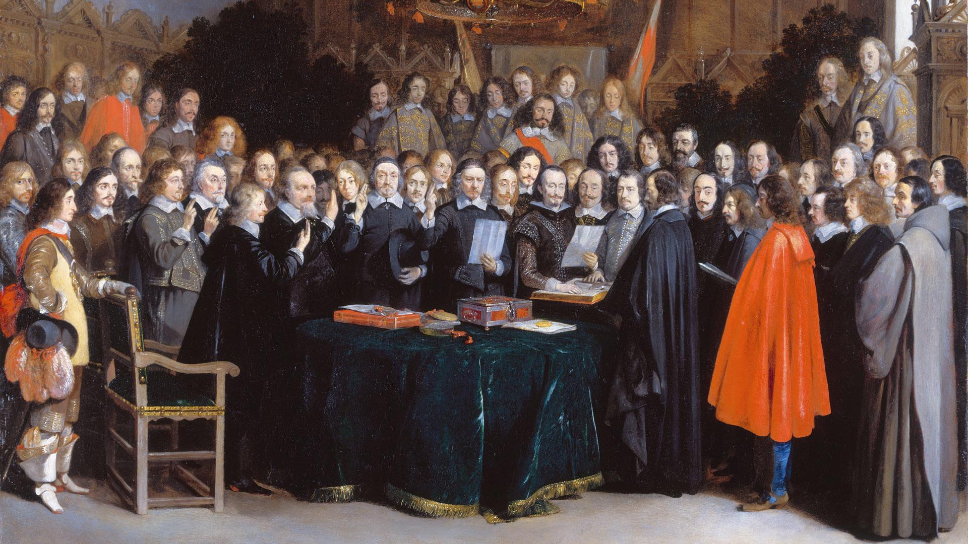 Der Westfälische Friede stabilisierte nach dem 30-jährigen Krieg die politische Situation in Europa und stand den reformatorischen Konfessionen die gleichen Reche zu. Das Gemälde von Gerard ter Borch zeigt die Unterzeichnung in Münster seitens niederländischer und spanischer Gesandter 1848.