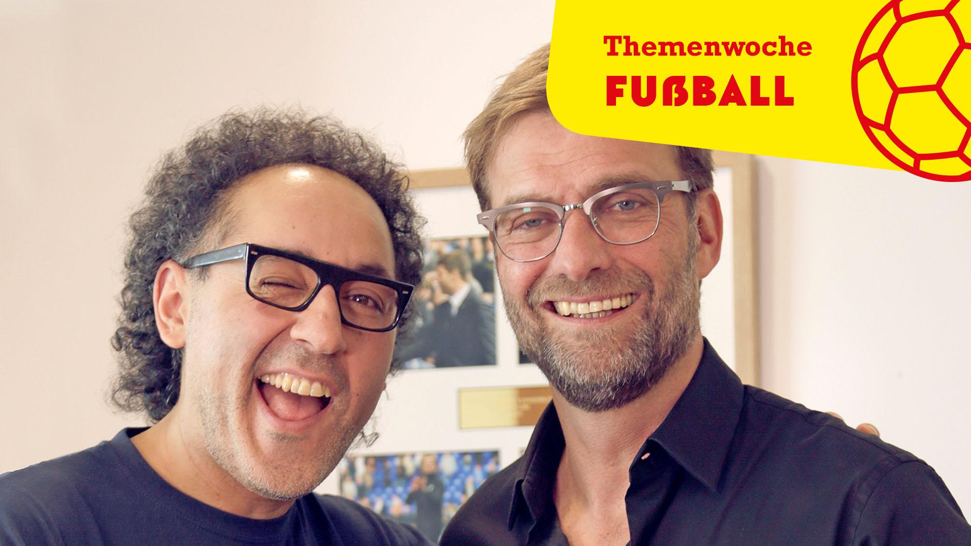 Autor David Kadel und Liverpool-Trainer Jürgen Klopp