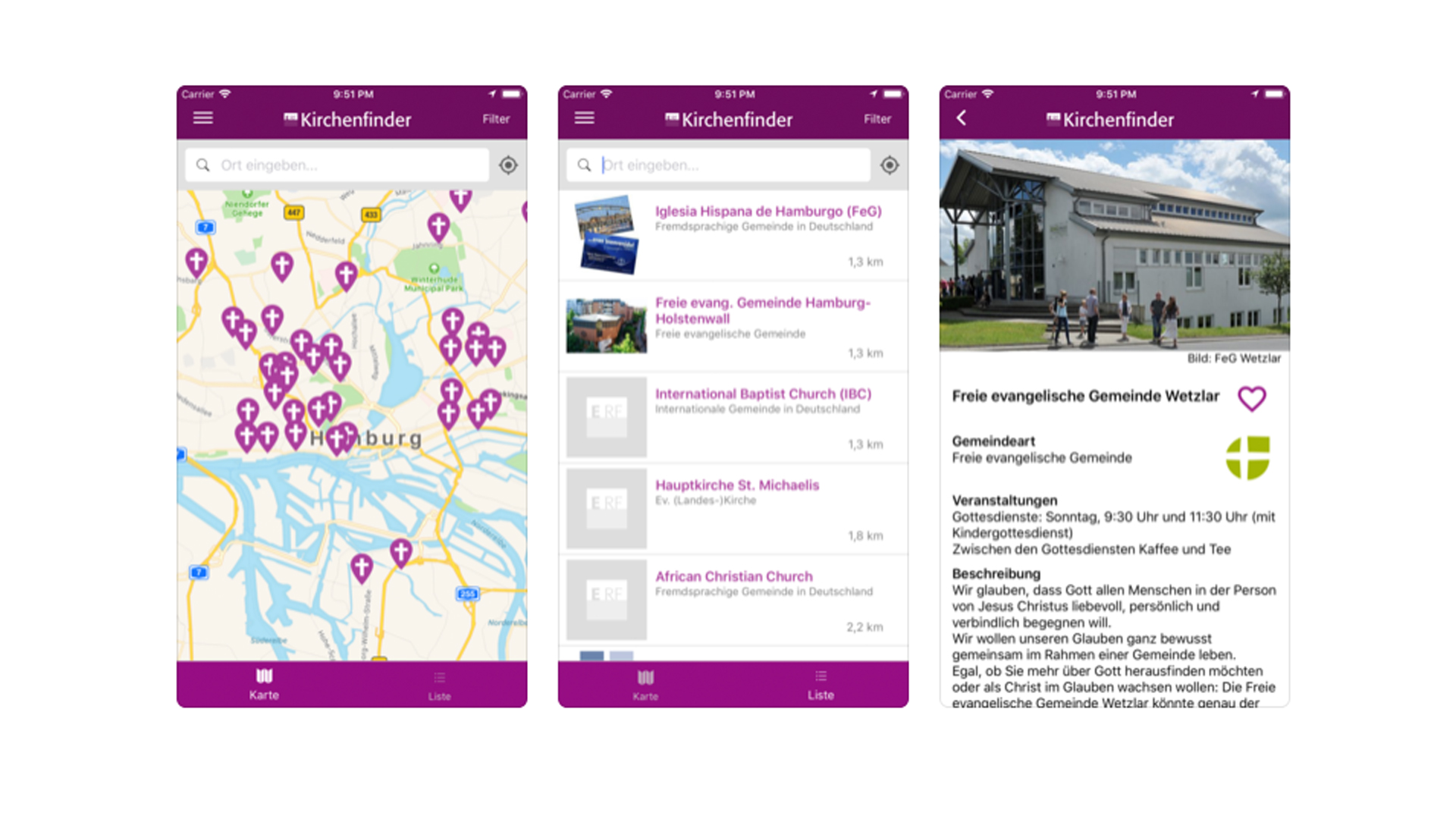 Auf digitalem Weg in die Kirche: ERF Medien hat eine Kirchenfinder-App entwickelt mit Informationen zu Gemeinden und Gottesdienstzeiten