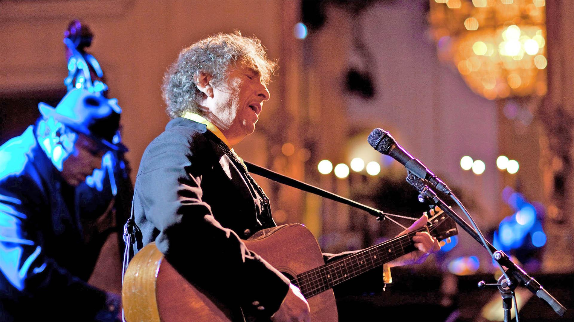 Bob Dylan bei einem Auftritt im Weißen Haus zur Zeit von Präsident Barack Obama im Jahr 2010