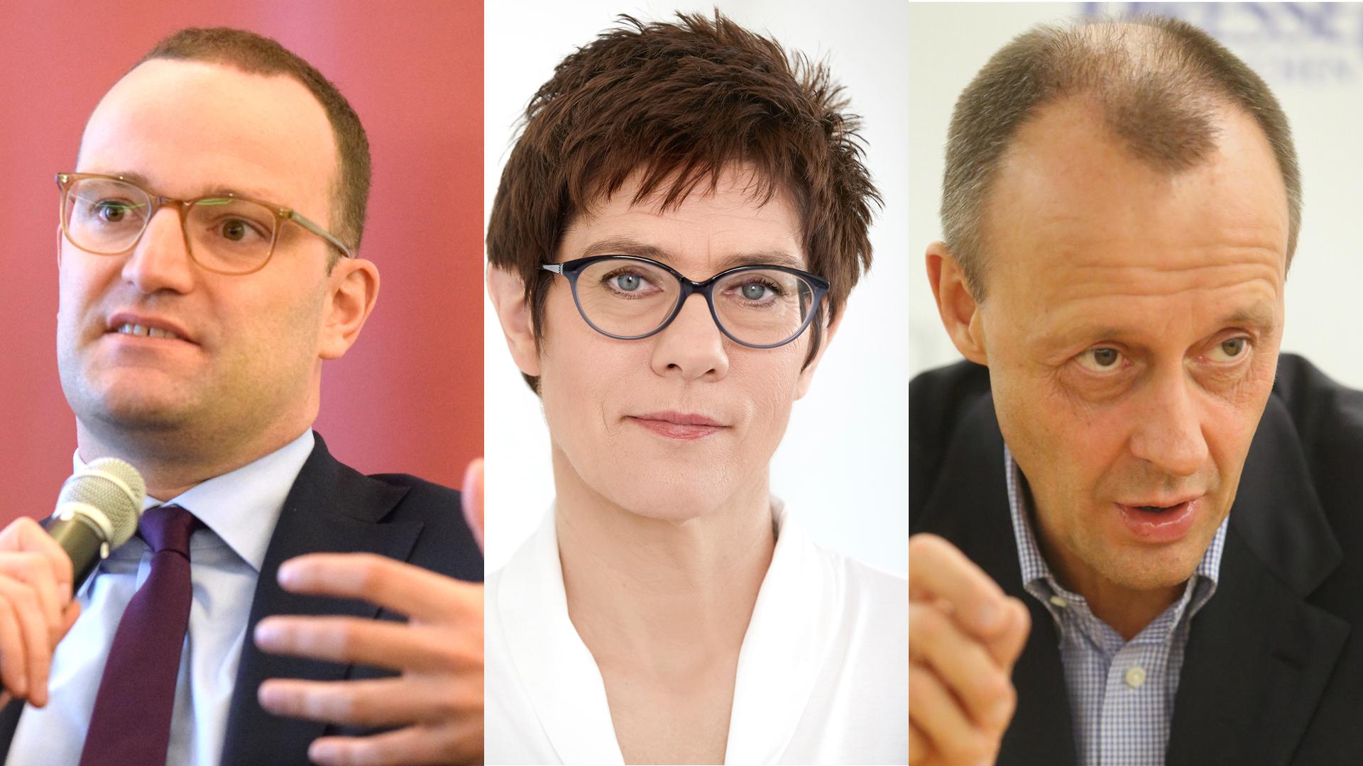 Die Kandidaten für den CDU-Vorsitz (v.l.): Jens Spahn, Annegret Kramp-Karrenbauer und Friedrich Merz