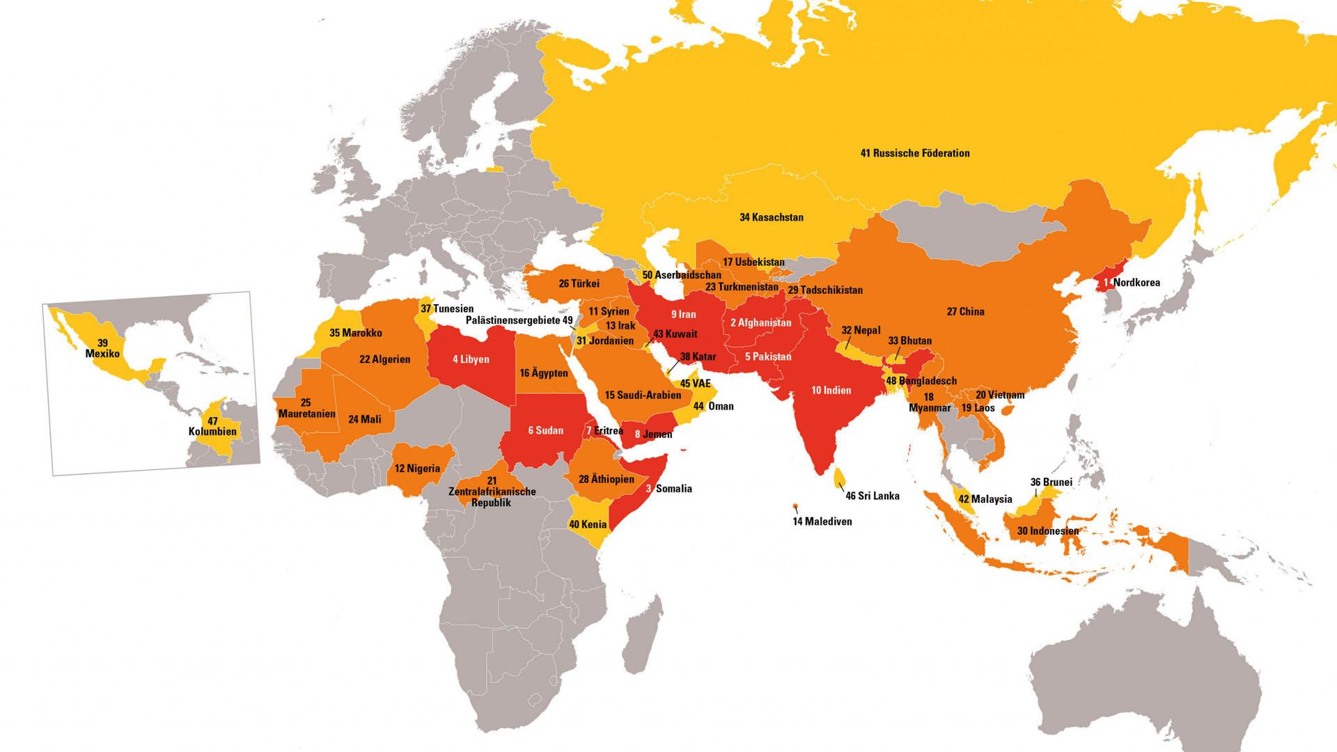 Erstmals seit 2011 steht Russland wieder auf dem Weltverfolgungsindex