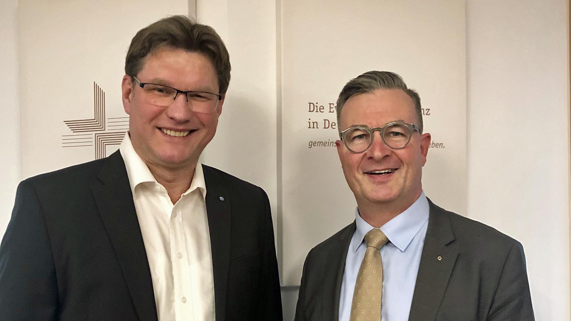 Albert Weiler (rechts im Bild, CDU) war am Dienstag zu Gast bei Uwe Heimowski, dem Politikbeauftragten der Deutschen Evangelischen Allianz