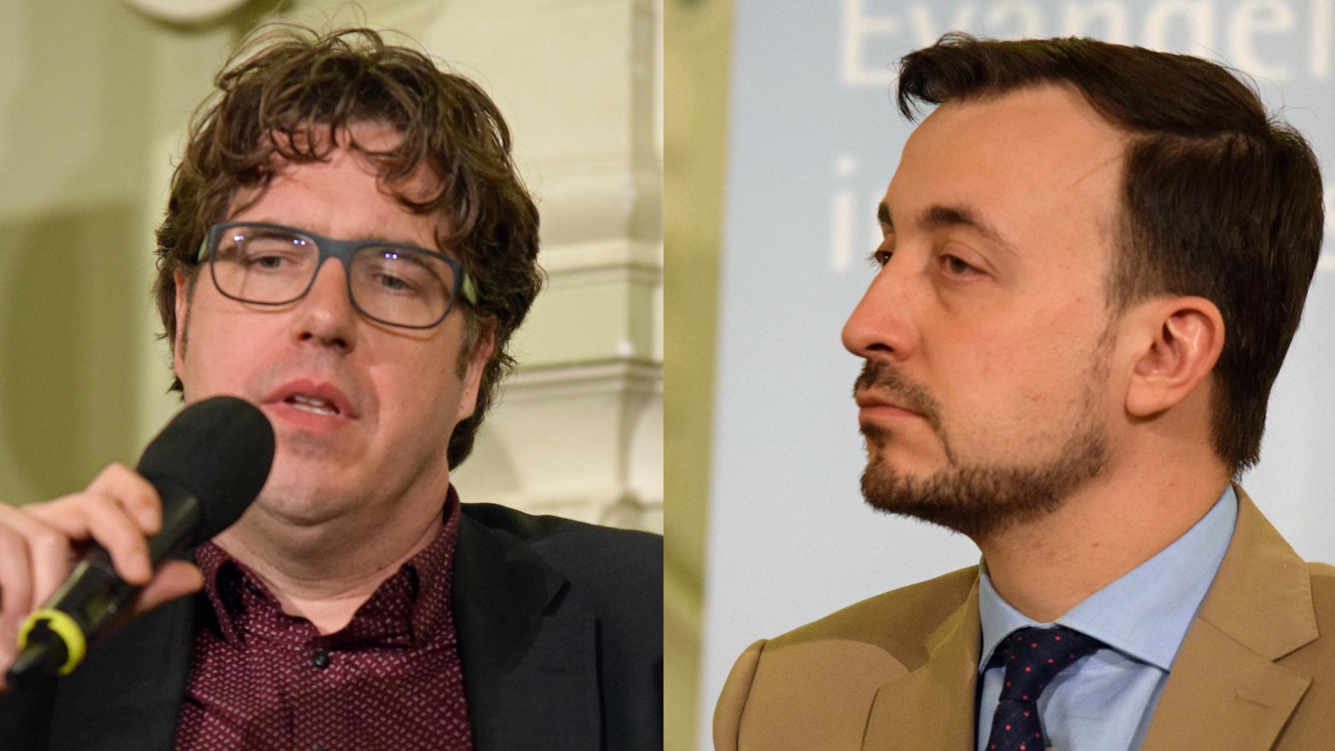 Michael Kellner (l.) sprach in Berlin mit Paul Ziemiak über die politische Kraft der Kirchen