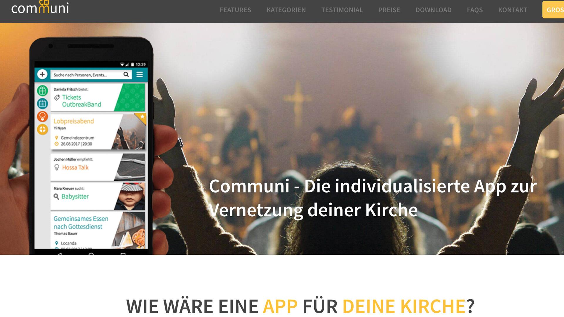 Die App Communi will Kirchen- und Gemeinemitglieder vernetzen