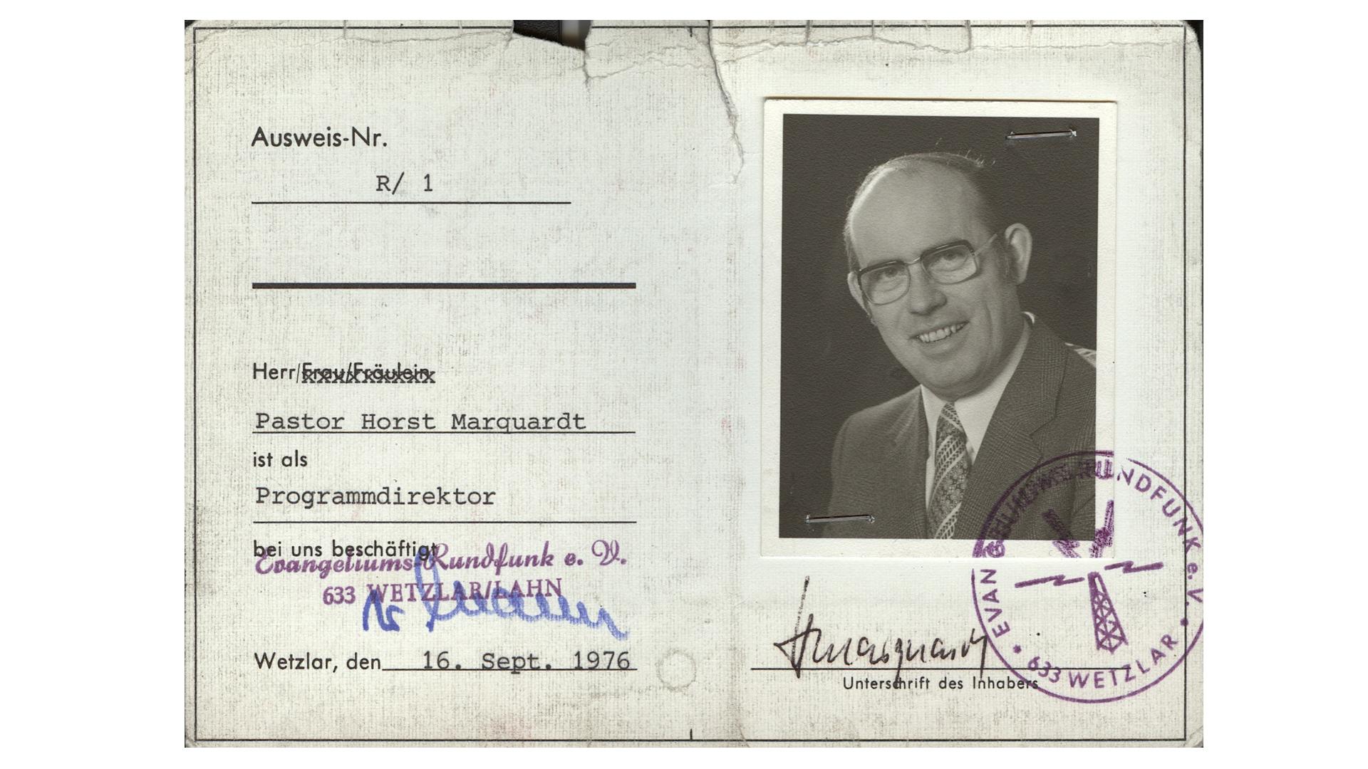 Am 1. April 1960 wurde Marquardt Programmdirektor des Evangeliumsrundfunk (ERF)