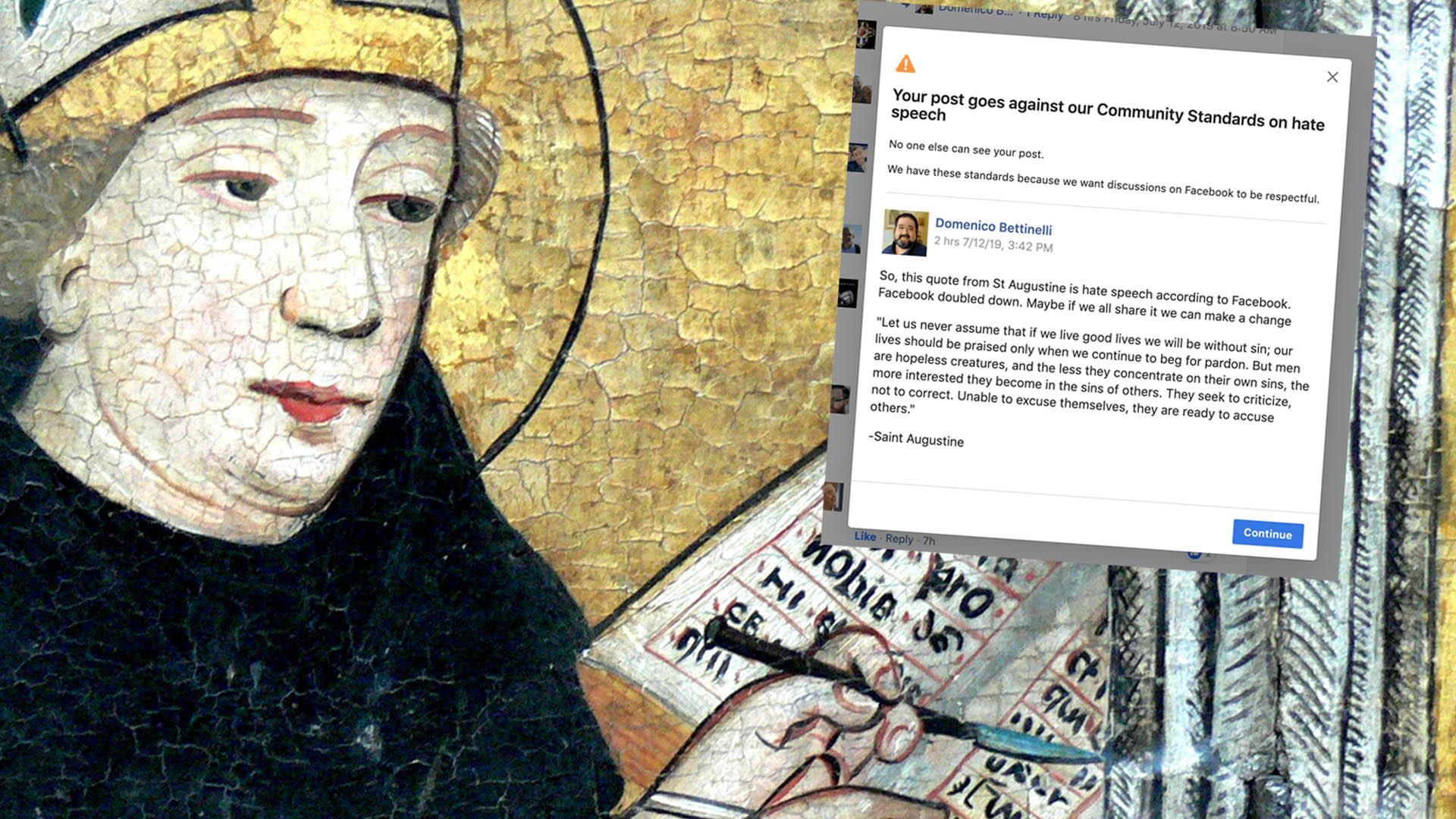 """Ein Zitat des Kirchenvaters Augustinus wird von Facebook als """"Hassrede"""" eingestuft. Hier ein Bildnis aus dem Jahre 1440"""