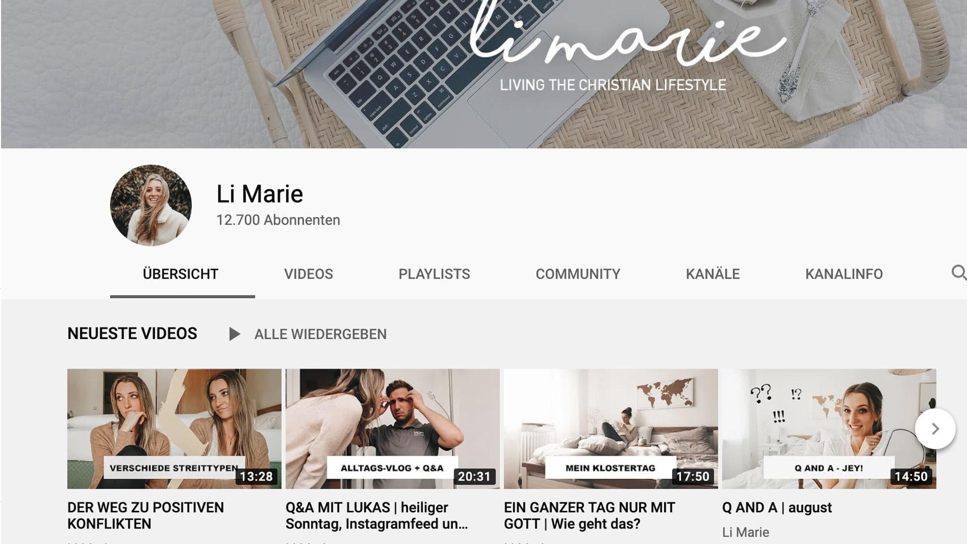 Lisa alias Li Marie hat bei YouTube mehr als 12.000 Zuschauer