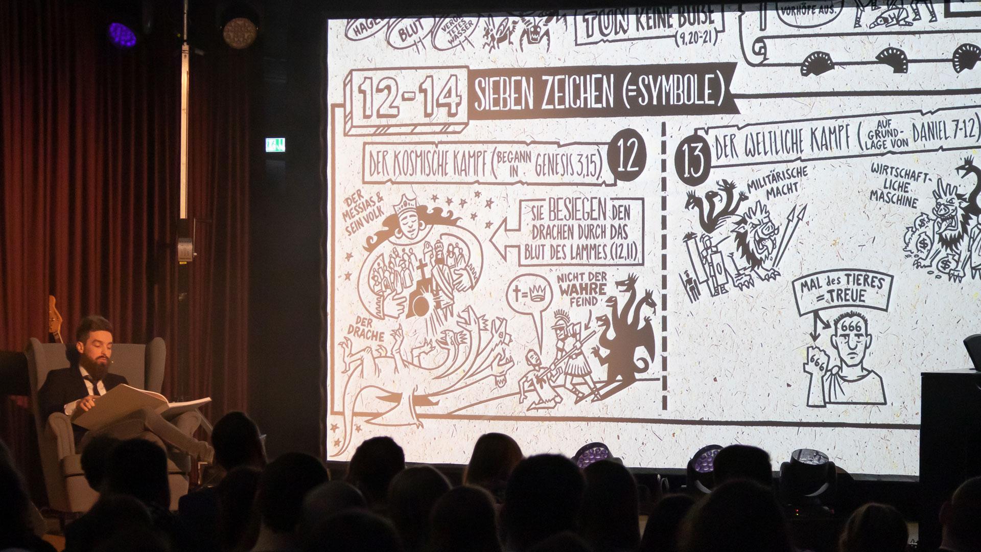 Der Sprecher Eduard Regehr liest live zum Video der Offenbarung