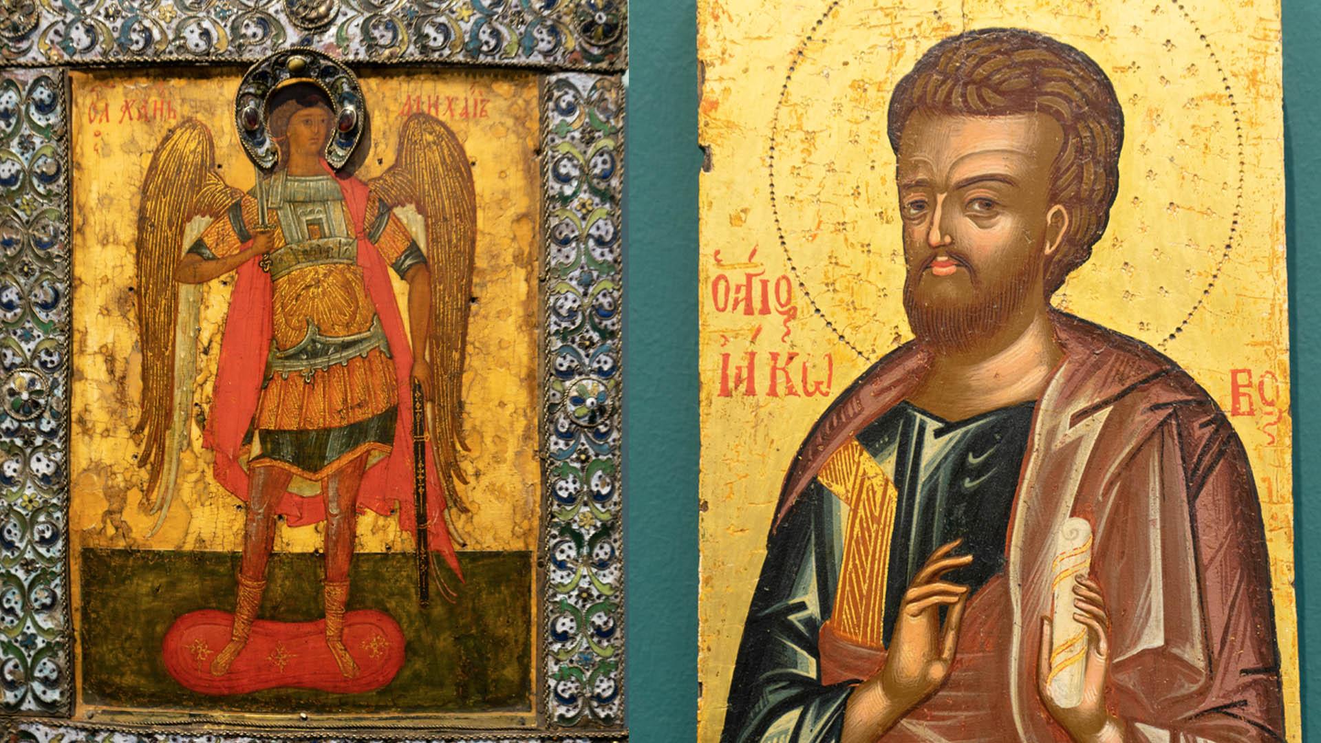 Links: Erzengel Michael, Eitempera auf Holz, Russland, 16. Jahrhundert; Rechts: Apostel Jakobus, Griechenland, Ende 16. Jahrhundert