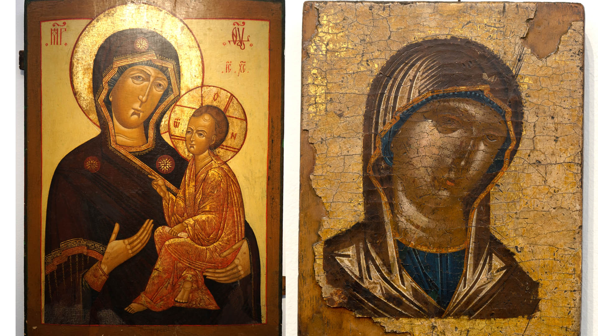 Links: Muttergottes, Griechenland, 16. Jahrhundert; Rechts: Muttergottes von Tichvin, Russland, 19. Jahrhundert