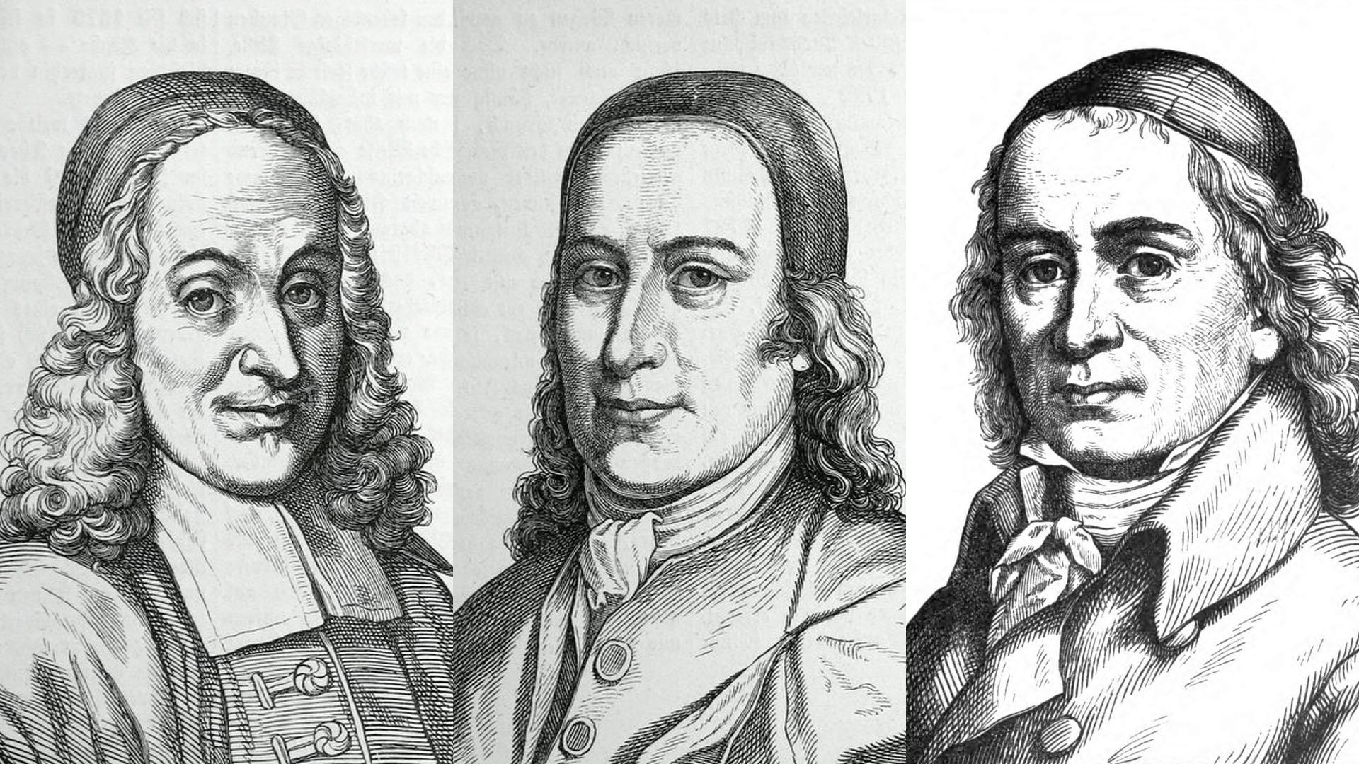 Drei Gründerväter des Pietismus: Philipp Jacob Spener (1635–1705), Nikolaus Ludwig Graf von Zinzendorf (1700–1760), August Hermann Francke (1663–1727)