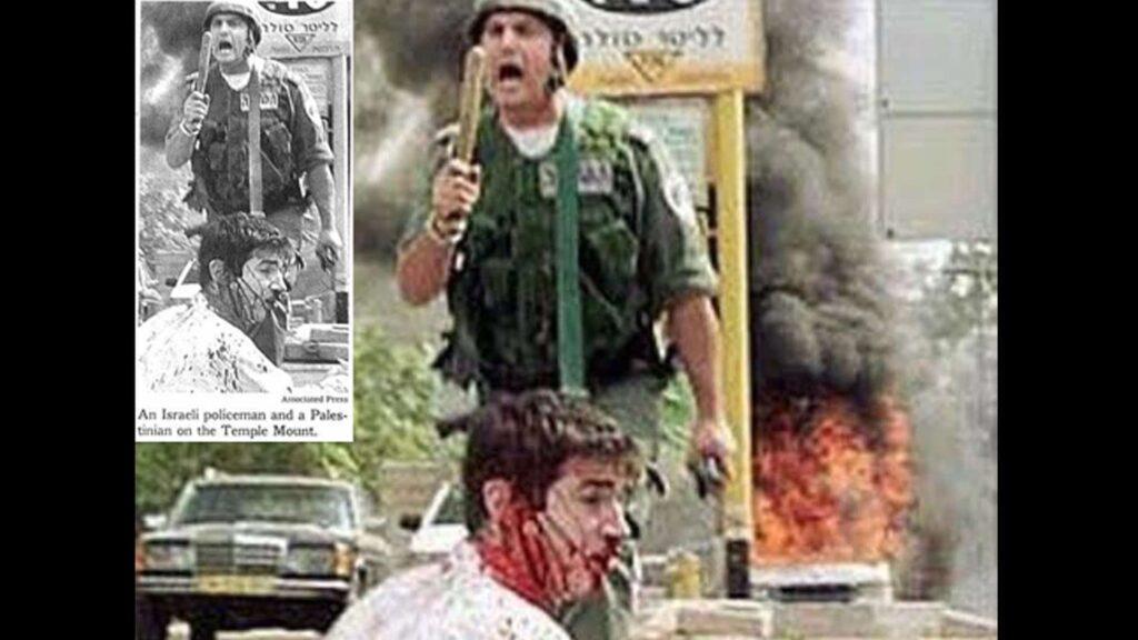 """Das farbige Bild ist das Original, der das schwarz-weiße Ausschnitt erschien in der """"New York Times"""" –auch dort ist noch die israelische Zapfsäule zu erkennen"""