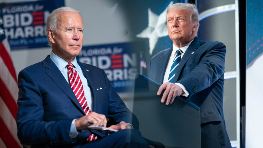Sie bewerben sich um das Präsidentenamt: Joe Biden und Donald Trump