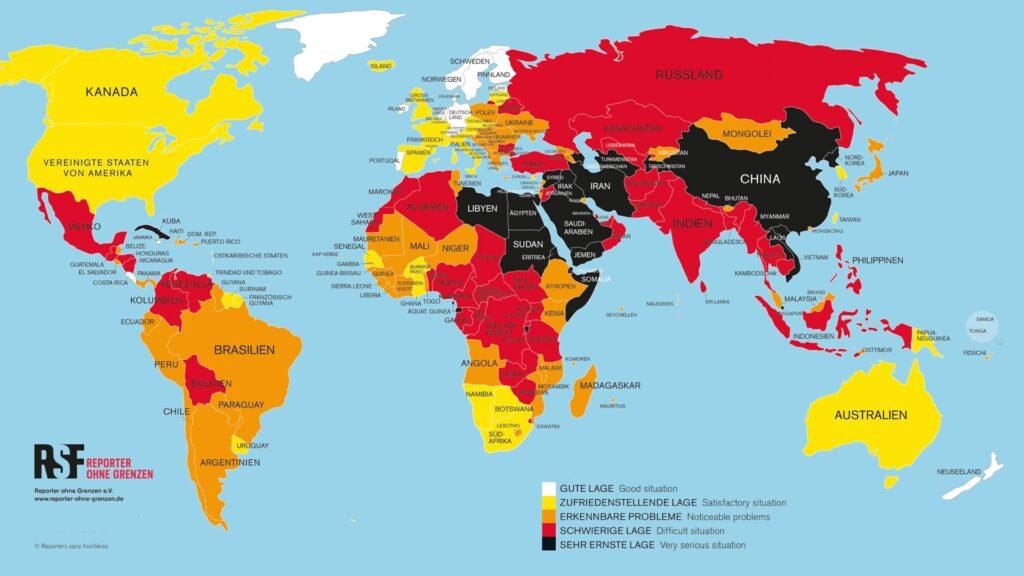 """Auf der """"Weltkarte der Pressefreiheit"""" sind Länder (darunter Saudi-Arabien), in denen den Lage der Pressefreiheit als """"sehr ernst"""" eingestuft wird, mit der Farbe Schwarz gekennzeichnet"""