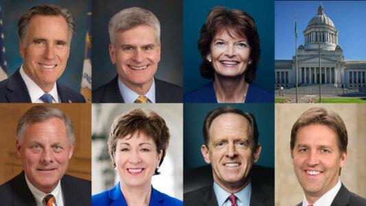 Diese sieben Republikaner im US-Senat stimmten am Samstag für eine Amtsenthebung des ehemaligen Präsidenten Donald Trump. Sie stellten sich damit gegen die Mehrheit der restlichen 43 Abgeordneten ihrer Partei.