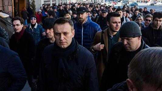 Alexej Nawalny bei einer Demonstration 2017 in Moskau