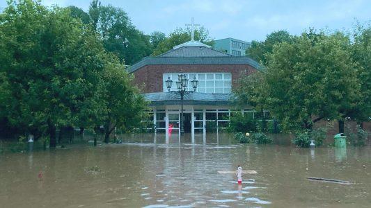 Kirche am Widey, EFG Hagen, überflutet